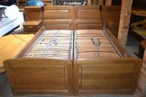 Дубове ліжко з підйомним механізмом+ламель+матраци, А10049-0